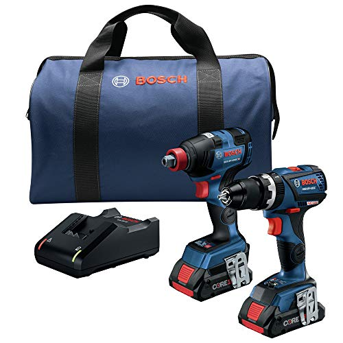 Bosch GXL18V-251B25-RT 18V Lithium-Ion Brushless Freak 1/4 in. and 1/2 in. 2-in-1 Bit/Socket Impact Driver / 1/2 in. Hammer Drill Driver Combo Kit (4 Ah) (Renewed)