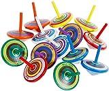 Erlliyeu 20 Stück Kreisel aus Holz Holzkreisel Spielzeug Bunt Spielzeugkreisel Mitgebsel Kindergeburtstag Partybeutelfüller Partydekorationszubehör