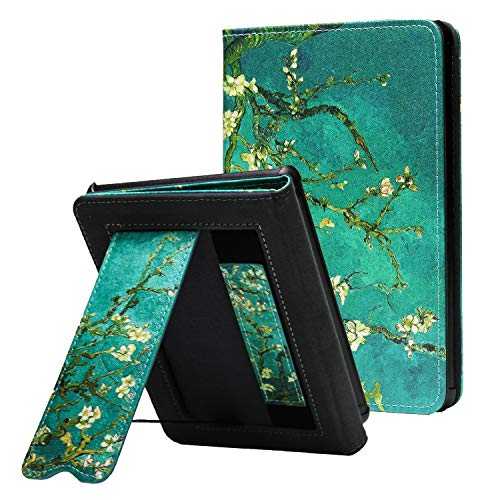 CoBak Kindle Paperwhite Case with Stand - Durable PU Leather Smart Cover with Auto Sleep Wake, Hand Strap Feature, ONLY Fits All New Kindle Paperwhite 10th Generation 2018 Released,Blossom