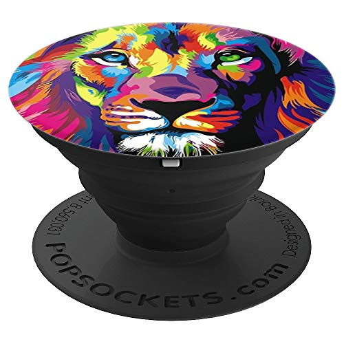 Watercolor Colorful Wild Cat Lion Pop Mount Socket PopSockets Grip and Stand for Phones and Tablets