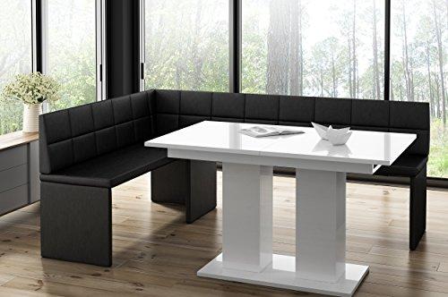 Hoekbank Marta zwart met zuiltafel wit keukenbank zithoek dik bekleed kunstleer onderhoudsvriendelijk stabiel houten frame 142x196L
