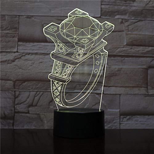Magic Diamond Ring Night Light 3D Sleep Light Led Flash Remote Control USB Power Supply Suitable for Room Decoration Send Children