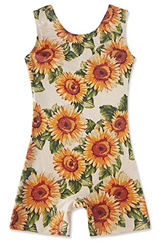 uideazone Sunflower Printed Gymnastic Leotard Size 3 4 Little Girls Yellow Unitard Biketard One Piece Sleeveless Jumpsuit Outfit 3-4T