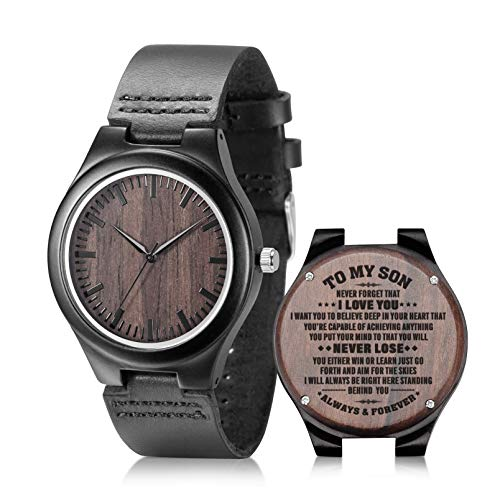 to My Son Engraved Watch Black Leather Strap Handmade Ebony Wooden Natural Custom Wood Watch for Son Birthday Graduation Gifts