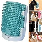 iHOO Massagekamm für Katzen, zur Selbstpflege, für Wände, Ecken, weiche Gummiborsten, Massagegerät für Kätzchen, geeignet für flache Wände, Eckkäfige und Handhaltung, Blau