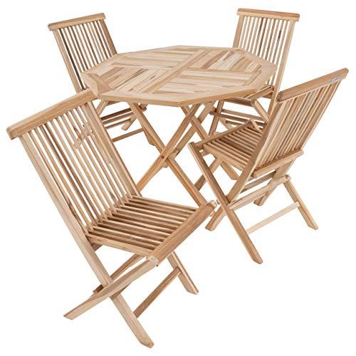 Divero 5 TLG. Balkonset Gartenset Garten-Set Sitzgarnitur Klappstuhl Tisch rund Ø 100 cm Teakholz