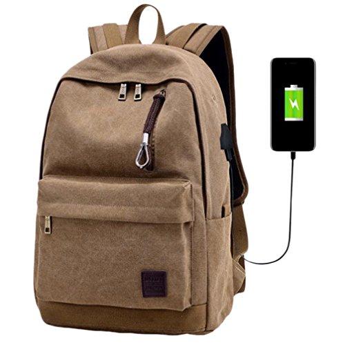 outflower Creative Leinwand Rucksack Student Supplies Stationery Staubbeutel Externes USB Lade-Schnittstelle Laptop-Tasche Outdoor Reisen Kleidung Lebensmittel Aufbewahrung Paket braun braun