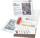 Cortador de Lino / linóleo, Conjunto que consiste en: 5 resortes, soporte de seguridad, rodillo, placa de linóleo, color