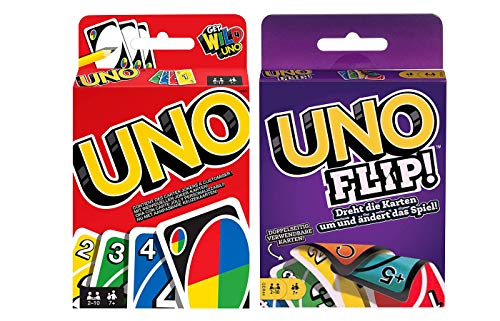 Mattel Games UNO + UNO FLIP, juego de cartas y juego de sociedad, a partir de 7 años