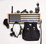 StandNtall Wall Mounted Tactical Duty Gear Rack with Police Flag – Police Storage Shelf & Law Enforcement Organizer- Police Gift Decor- Thin Blue Line Gift Decor- Challenge Coin Holder