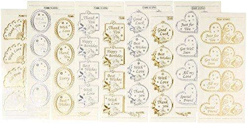 Creatieve producten Tekst Labels Dubbele reliëf Craft Stickers, Stickers, Zilver/Goud