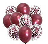 Burgundy Confetti Balloons Metallic Maroon - Wine Color Balloons for Wedding Bridal Shower Birthday Anniversary Party Decoration 80packs 12Inch(Burgundy)