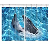DYNH 3D Dolphin Kitchen Curtains, Cartoon Marine Animals Playing in Ocean World Fabric Window Curtain Treatment Panels Valance, Waterproof Drapes Hooks Included 55X39 Inches