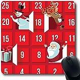 RWYZPAD Mousepad OblongClaus Rot Dezember Weihnachten Adventskalender Santa Festliche Rentierfeiertage Tür Fenster Countdown Büro Computer Laptop Notebook Mauspad, rutschfestes Gummi