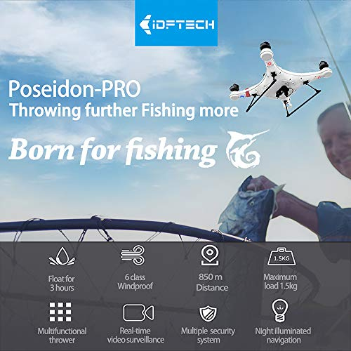 Walmeck Waterproof Fishing Drone with Camera 1080P GPS Positioning 850m 5G WiFi Transmission 1.5kg...