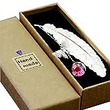 Toirxarn Segnalibro in piuma di metallo, con farfalla 3D e perle di vetro Ciondolo eterno fiore secco. per lettori, donne e bambini.