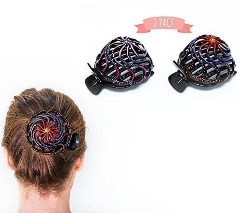 Bun Cover Hair Holder, Hand Crafted Hair Clip. this Attractive Hair Accessory can be used as a Bun Maker or a Hair Grip. Hair Styling for Women for Thick and Thin Hair. 2 Pcs Uniquely Hand Painted.