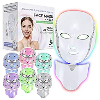 Red Light Therapy LED Face Mask Neck 7 Color | LED Mask Therapy Facial Photon For Healthy Skin Rejuvenation | Collagen Anti Aging Wrinkles Scarring | Korean Skin Care Facial Skin Care Mask  White