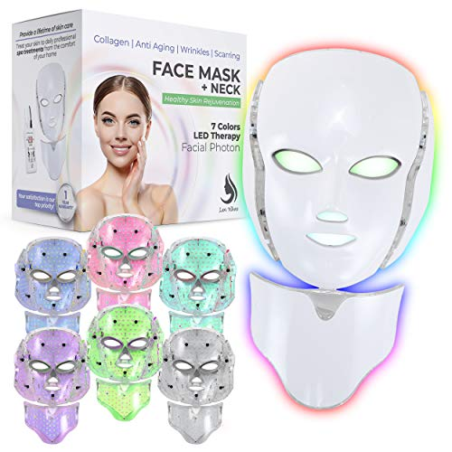 Red Light Therapy LED Face Mask Neck 7 Color | LED Mask Therapy Facial Photon For Healthy Skin Rejuvenation | Collagen, Anti Aging, Wrinkles, Scarring | Korean Skin Care, Facial Skin Care Mask (White)