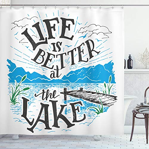 """Ambesonne Cabin Shower Curtain, Life is Better at The Lake Wooden Pier Plants Mountains Sketch Art, Cloth Fabric Bathroom Decor Set with Hooks, 75"""" Long, Charcoal Grey"""
