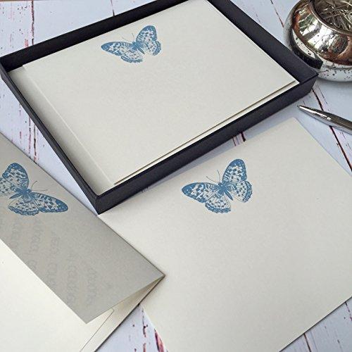 Wagtail ontwerpt Notelets met een vlinder Illustratie in een mooie zwarte doos met lint (Choose 10 of 20 kaarten met enveloppen) Ivory (Cream)