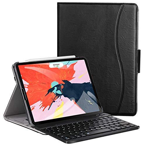 ZtotopCase Tastatur Hülle für iPad Pro 12.9 2018(3. Generation),Premium Leder Abnehmbare Bluetooth Tastatur Automatische Schlaf/Wach Schutzhülle für iPad Pro 12.9 Zoll 2018 Tablet,Schwarz