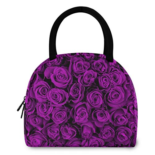 ZzWwR 3d Purple Rose Flowers Reusable Lunch Tote Bag with Front Pocket Zipper Closure Insulated Thermal Cooler Container Bag for Man Women Work Picnic Travel Beach Fishing