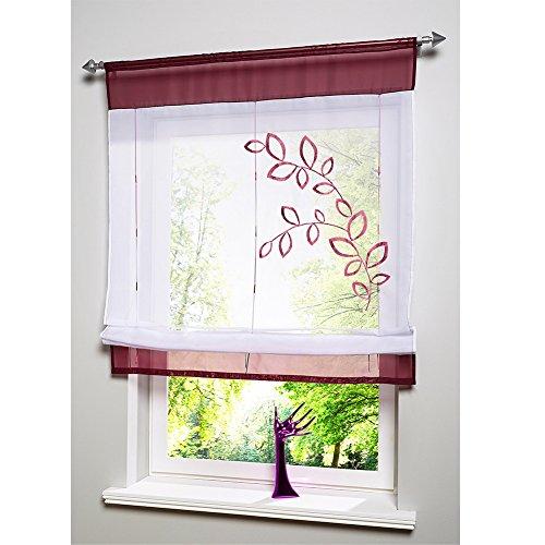 KOU-DECO Tunnelzug Raffgardine Blumen Stickerei Raffrollo Voile Transparente Weiße Vorhang mit Stangen 1 Stück (Lila, 100x140cm)