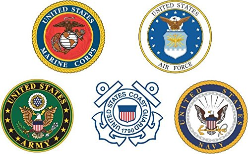 US Army Branches of Service Combo Pack of s Waterproof Vinyl Window Bumper Sticker Decal 3.8'