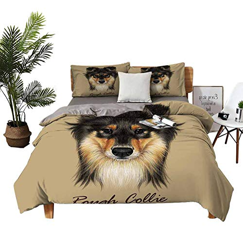 4 Bedding Cover Set Bed Sheets King Set Printed Quilt Duvet Cover Collie Dog Animal Cute face. Vector Mahogany Sable Rough Collie Puppy Head Portrait. Breathable Fabric W80 xL90