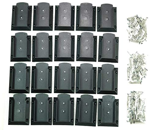 KASTFORCE KF4011 20pcs Deck Railing Brackets Connectors for 2x4 (1.5x3.5) Railing Wood Post with 120pcs Black Coating Stainless Screws