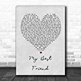 #Tim #McGraw #My Best Friend Grey Heart Song Lyric Music Poster Wall Art Home Decor Gifts for Lovers Painting