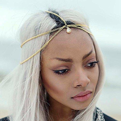 Jovono Head Chain Headband with Rhinestone Pendant for Women and Girls