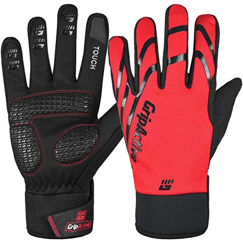 Guantes de ciclismo de invierno Grip Active antiviento, pantalla táctil, guantes cálidos...