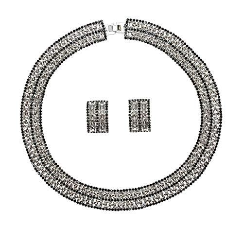 Faship Black Crystal Rhinestone Panther Link Choker Necklace Earrings Set - Black