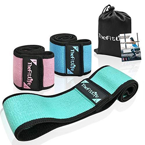 TheFitLife Fitnessband Widerstandsbänder Band Resistance – [3er Set] für Frauen mit elastischem Anti-Rutsch-Design zum Formen der gewünschten Pfirsichform, mit Tragetasche und Bedienungsanleitung