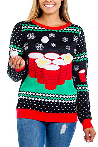 Tipsy Elves Cheer Pong Women's Interactive Ugly Christmas Sweater from Size L