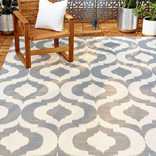 Home Dynamix 14219L-451 Trina Turk Rio Vivianna Moroccan Indoor/Outdoor Area Rug 5'x7', Ikat Gray/Crisp White