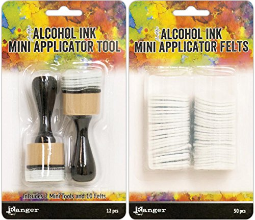 Tim Holtz Alcohol Ink Mini Applicator Tool and Replacement Felt Bundle (Set of 2 Items)