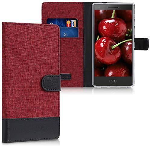 kwmobile BlackBerry Motion Hülle - Kunstleder Wallet Case für BlackBerry Motion mit Kartenfächern und Stand - Dunkelrot Schwarz