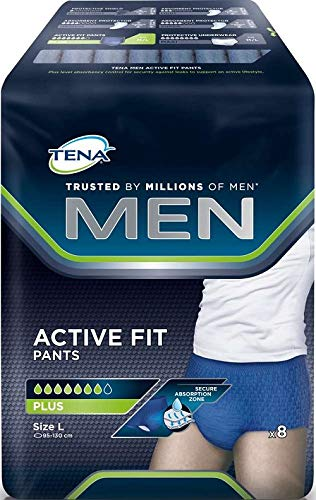 Tena Herren-Inkontinenzhosen, Active Fit Pants Plus Large, 4 Packungen à 8 Stück