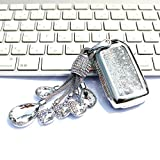 YIJINSHENG Car Key TPU Soft Plating Protection Shell Quicksand Star Sequins Flowing Case Cover for Honda Civic Accord Fit EX HRV Pilot Smart Key Keyless Remote FOB Crystal Key Chain Bag (Silver)