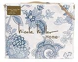 Nicole Miller King Duvet Cover Set Medallion Paisley 3 PC Blue Gray Tan White Floral Bohemian Cotton Bedding