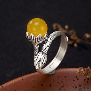 Lozse Anelli regolabili S990 argento intarsiato gioiello signora moda minimalista lusso tondo perlina anello lotus