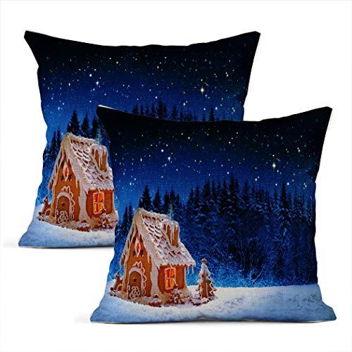 Meowjoy - Set di 2 federe per cuscino in lino con stampa di pan di zenzero e cielo stellato, per auto, divano, camera da letto, decorazione per la casa, idea regalo per amici e familiari, 50 x 50 cm