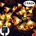 Solar String Lights, 2 Pack 30 LED Solar Bee Fairy Lights 8 Modes Copper Wire Lights Waterproof Outdoor String Lights for Garden Patio Gate Yard Party Wedding Indoor Bedroom (Warm White)
