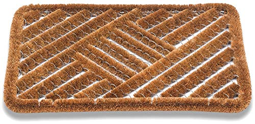 Matches21 Felpudo Felpudo Kokos de fibra de coco, rejilla de alambre, diseño de cuadros, para exteriores, 40 x 60 cm