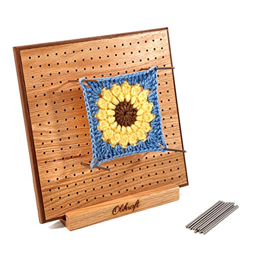 Deluxe Handcrafted Wooden Knitting and Crochet Blocking Board Mat with Grids (Full Kit with 50 4-inches Stainless Steel Rod Pins, Stand Included) (8 inches)
