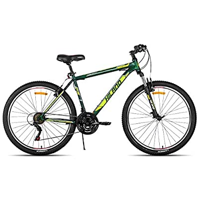 Hiland 27.5 Inch Mountain Bike with 21 Speed Suspension Fork V Brake Bicycle Green 17 Inch Frame