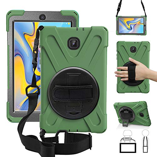 ZenRich New Galaxy Tab A 8.0 2018 Case, 3 Layer Hybrid Heavy Duty Shockproof Case for Samsung Galaxy Tab A 8.0 SM-T387 Tablet Army Green